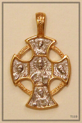 The Gardian Angel Orthodox Silver Gold Cross  Jc Jesus Christ Crucifix (T119)