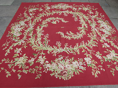 Old Square Hand Made French Design Wool Red Square Original Aubusson 243X240cm