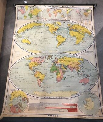 1938 Giant 54x43 School Type Roll-Down Linen Backed Map - THE WORLD