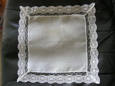 Fabulous White Floral Lace Vintage Handkerchief.Perfect for Wedding!STuNNing!