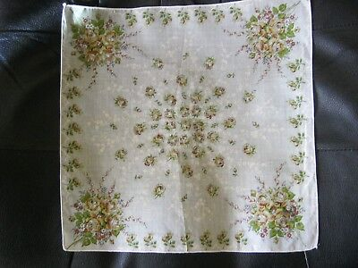 """Gorgeous"""" Bouquets of Yellow Roses"""" Vintage Handkerchief.Awesome!!A Must See!"""