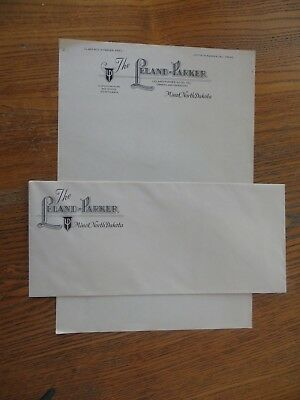VINTAGE ILLUSTRATED LETTERHEAD ENVELOPE LELAND PARKER HOTEL MINOT ND DAKOTA nice
