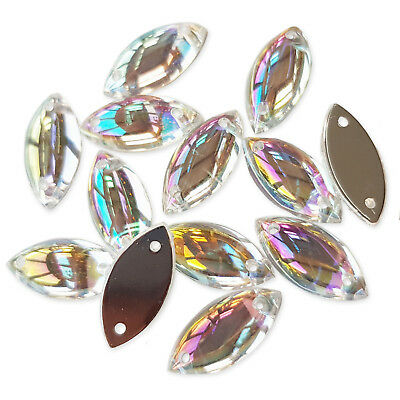 50pcs 6x15mm Marquise AB Sew On Gems Resin Rhinestone Costume Embellishments