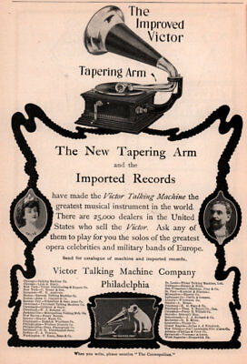1903 A Ad Victor Talking Machine Co Tapering Arm Imported Records