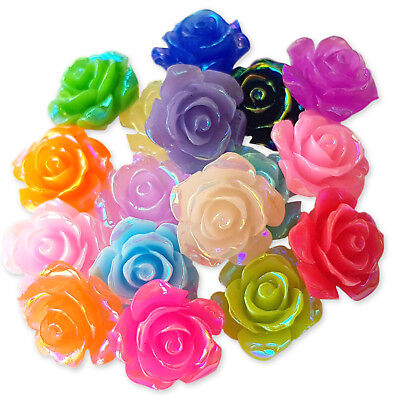 15mm AB Coated Resin Flower Rose Cabochon Flatback Embellishment Jewellery Craft