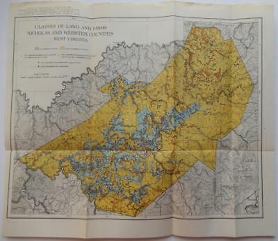 Vintage Map of Classes of Land & Farms Nicholas & Webster Counties West Virginia