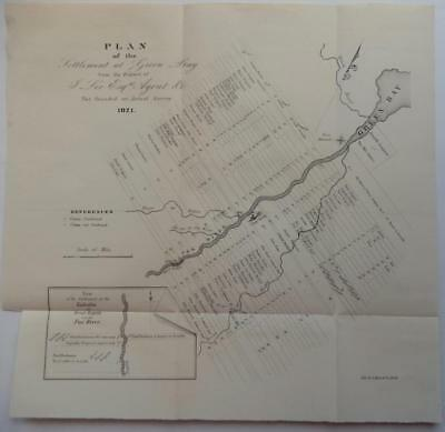 Rare Vintage 1821 Sketch Map Settlement at Green Bay Ft Howard Camp Smith WI