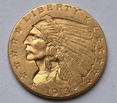 1913 $2.50 Dollar United States Indian Head Quarter Eagle Gold Coin $2 1/2