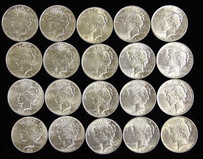 Twenty (20) Nicer Peace Silver Dollars $ 1922 UNC details Pre '64 1 Roll