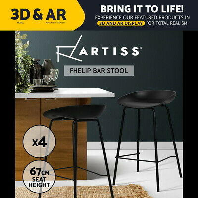 4x ABOUT A Bar Stools Barstool Kitchen Metal Dining Chair Plastic Black