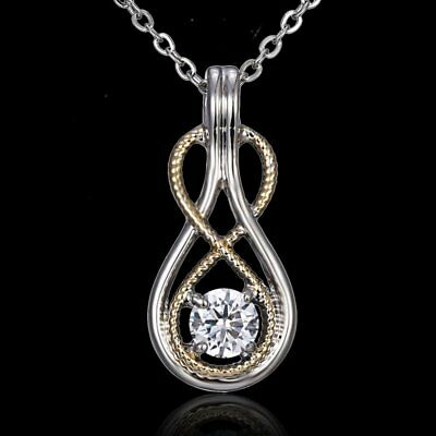 Women White Gold Plated Crystal 8 Shape Pendant Necklace Wedding Jewelry Gift