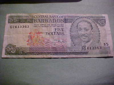 Five Dollars Central Bank Of Barbados Note