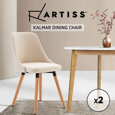 【20%OFF】 2x ReplicaDining Chairs Beech Wooden Chair Timber Kitchen Fabric Beige