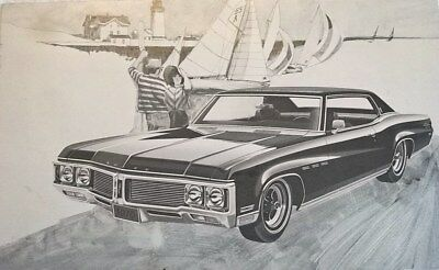 Large Advertising Postcard 1970 BUICK Le Sabre Sport Coupe B&W Foxed Back
