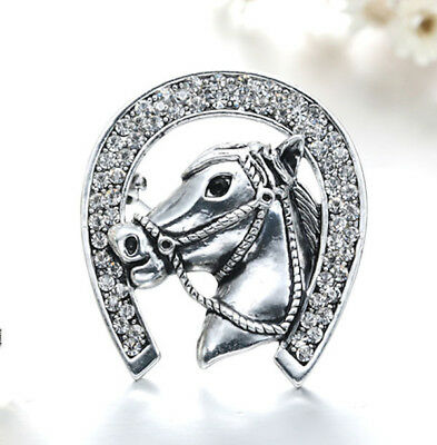 Horse & Western Jewellery Jewelry Sparkling Horse In Horseshoe Brooch Pin Silver
