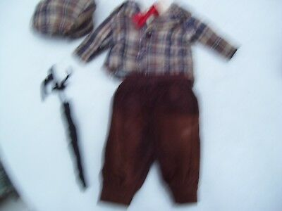 Alte Puppenkleidung Brown Suit Hat Umbrella Outfit vintage Doll clothes 35cm Boy