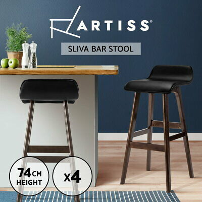 4x Bentwood Bar Stools Wooden Bar Stool Dining Chair Kitchen Leather Black 077
