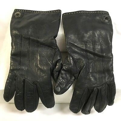 COACH Black Leather Cashmere Lined Gloves - Women's Size 6 1/2 *One Flaw*