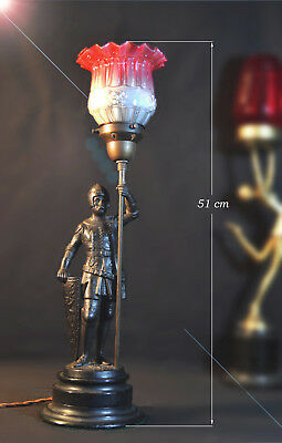 Edwardian Bronze Knight in armour lamp ebonized base foundry stamp early shade