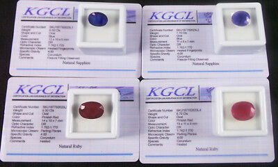 Certified 30.40 Ct/4Pcs Natural Royal Blue Sapphire&Red Ruby Oval Gems For Ring
