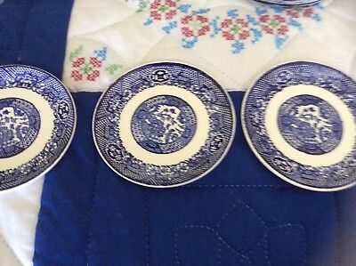 BLUE WILLOW Pattern Chinaware / 3 LG PLATES / VGVC