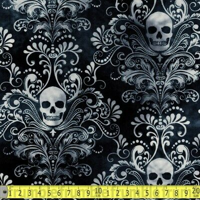 Timeless Treasures Fabric Wicked Skull Damask Charcoal PER METRE Gothic Skulls S
