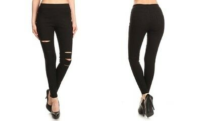 NEW Women's High Waist Pull-On Ripped Skinny Jeggings - Black - Size: M
