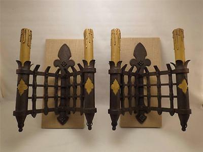 Antique 18th C. PAIR (2) French Wrought Iron Lighted Castle Sconces~Mounted~
