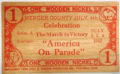 """Mercer County (New Jersey) 1942 """"America on Parade"""" flat wood nickel"""