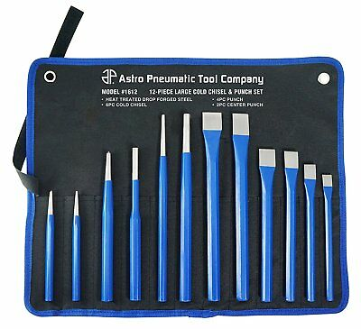 Astro Tools 1711 12-Piece Large Cold Chisel & Punch Set