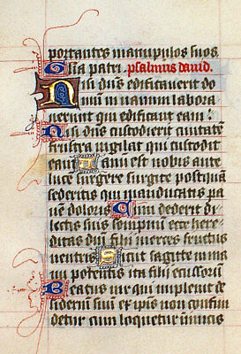 LOVELY ILLUMINATED MANUSCRIPT BOOK OF HOURS LEAF c 1450 2 PSALMS, GOLD, INITIALS