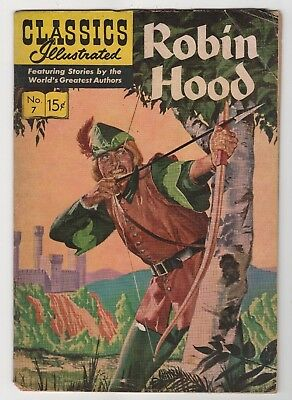 Classics Illustrated Robin Hood #7 Silver Age No bottom Corner, Stained