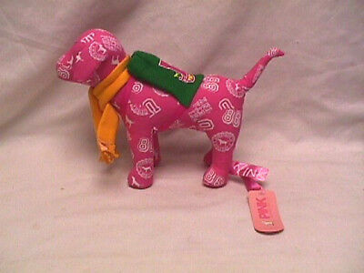 Victoria's Secret LOVE PINK Plush Dog wearing Green BackPack & Yellow Scarf NWT