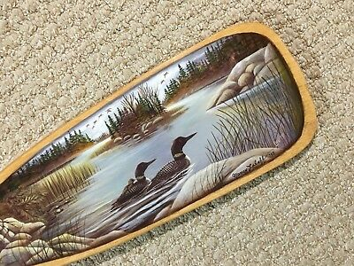 "'Loons' Scene on a 36"" Canoe Paddle by Nancy Luloff"