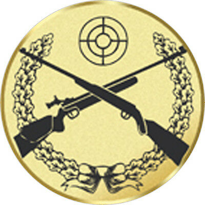 24x PRINTED CROSS RIFLE SHOOTING TROPHY MEDAL INSERTS FLAT OR DOMED 25mm
