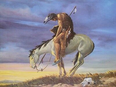 """Vanishing American Indian """"End of the Trail"""" By Michael Meketi Vintage 1960's A+"""