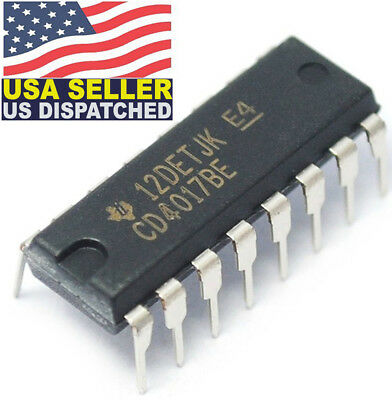 Original Texas Instrument CD4017 4017 DECADE COUNTER/DIVIDER IC CD4017BE