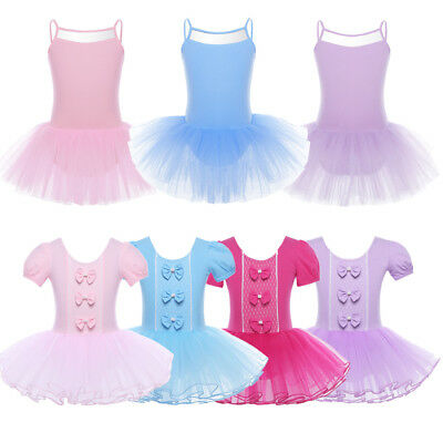 Girls Princess Ballet Dress Kids Gymnastics Dance Wear Leotard Bow Tutu Costume