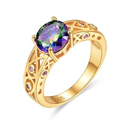 Fashion New 2018 14k Yellow Gold plated Silver Ring Round Rainbow Topaz Gems