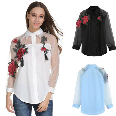 Women Ladies Floral Embroidered Sheer Mesh Casual Long Sleeve Blouse Shirt Top