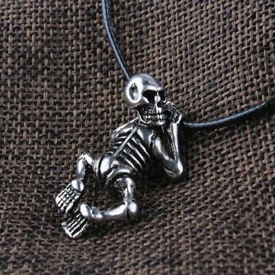 Vintage Skeleton Skull Pendant Norse Viking Jewelry Talisman Amulet Necklace