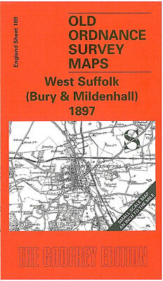 Old Ordnance Survey Map West Suffolk Bury & Mildenhall 1897 Bury St Edmunds