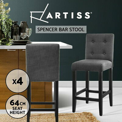 4x Bar Stool Wooden Barstool Rubber Wood Fabric Chair Timber Dining Charcoal