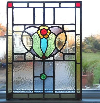AN ORIGINAL ANTIQUE FULLY RESTORED STAINED GLASS PANEL - Ref SG266