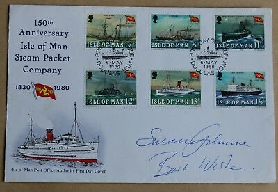 Steam Packet Company 1980 Isle Of Man Fdc Signed By Actress Susan Gilmore