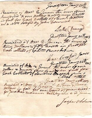1803, Colonel Luke Drury, Grafton, Mass.; signed payment accounting, many others