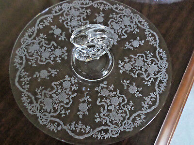 """Fostoria Romance Etched On Sonata Blank Handle Lunch Tray 11 1/4"""""""