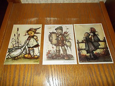 VINTAGE lot of 3 HUMMEL POSTCARDS -  UNUSED FROM GERMANY