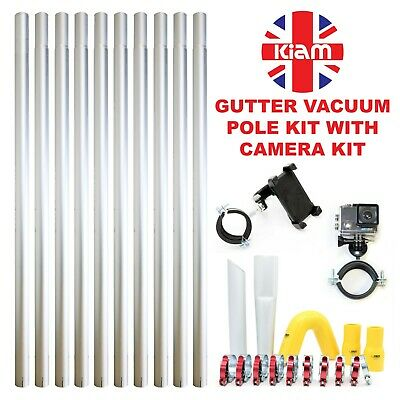 40ft 12m Gutter Vacuum Pole Kit Drain Hoover Cleaning & 4K Inspection Camera