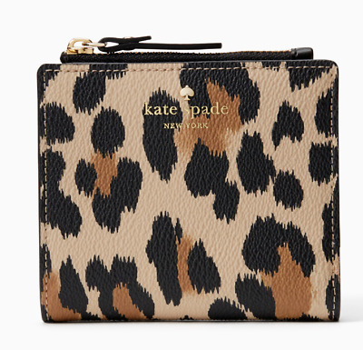 52d4e7281279 Kate Spade Compact Wallet Card Coin Hyde Lane Adalyn Leopard ~NWT $88~